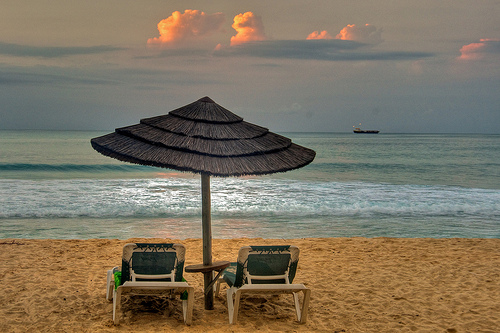 Beach umbrella at sunset - Antigua, Mar 2010