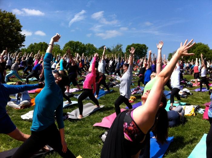 Yoga on the mall sun warriors