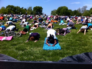 Yoga on the mall childs pose